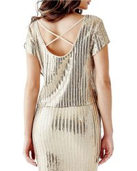 Guess - Metallic Striped Sequin Crisscross-back Top - Lyst