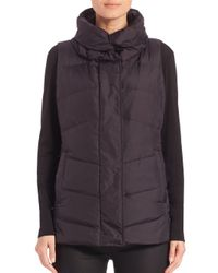Eileen Fisher | Black High-collar Puffer Vest | Lyst