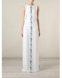 Iceberg - White Floral Stripe Maxi Dress - Lyst