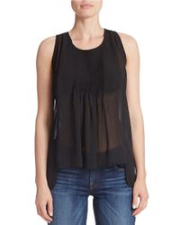 Guess | Black Georgette Trapeze Tank Top | Lyst