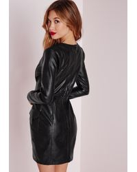 Missguided - Faux Leather Pocket Detail Bodycon Dress Black - Lyst