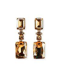 Oscar de la Renta | Metallic Crystal Drop Clip Earrings | Lyst