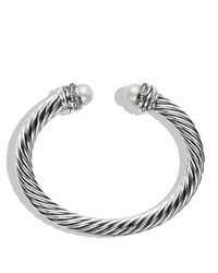 David Yurman - Metallic Crossovertm Bracelet With Pearls And Diamonds - Lyst