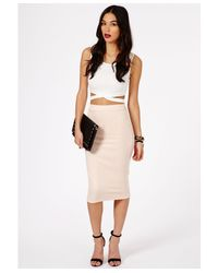 Missguided - Natural Jeania Ribbed Bodycon Midi Skirt In Nude - Lyst