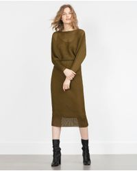 Zara | Green Fine Pleat Dress | Lyst