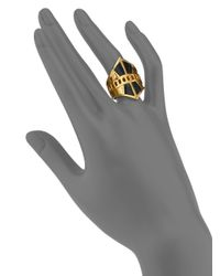 A Peace Treaty - Metallic Onona Blue Tiger's Eye Cutout Shield Ring - Lyst
