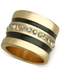 Guess - Metallic Gold-tone Black Enamel And Crystal Ring - Lyst