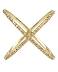 Eva Fehren | Metallic Gold Champagne Diamond X Ring | Lyst