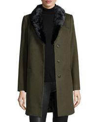 Belle Fare - Green Mink Collar Cashmere Blazer - Lyst
