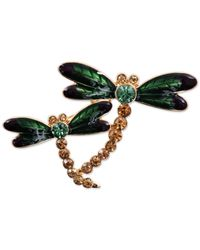 Jones New York | Green Gold-tone Glass And Epoxy Stone Dragonfly Family Pin | Lyst