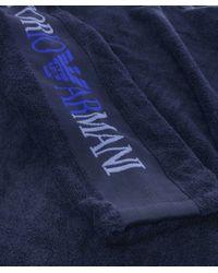 Emporio Armani | Blue Logo Sleeve Bathrobe for Men | Lyst
