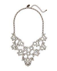 Cara | Metallic Gunmetal Statement Necklace | Lyst