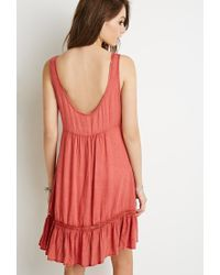 Forever 21 | Pink Lace-paneled Ruffle Dress | Lyst