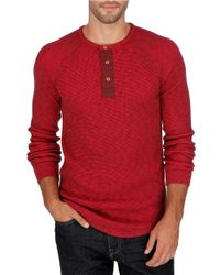 Lucky Brand | Red Thermal Henely Shirt for Men | Lyst