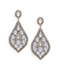 Bavna - Blue Moonstone, Pavé Diamond & Sterling Silver Teardrop Earrings - Lyst