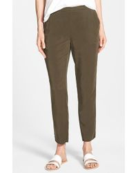 Eileen Fisher - Gray Tapered Twill Ankle-Grazing Pants - Lyst