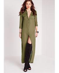 Missguided - Natural Maxi Length Long Sleeve Shirt Dress Khaki - Lyst