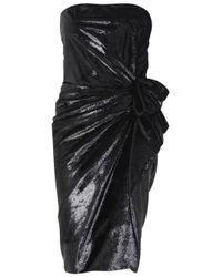 Lanvin | Black Ruched Lamé Velvet Dress | Lyst