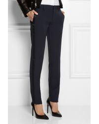 Saint Laurent - Blue Satintrimmed Wool Tuxedo Pants - Lyst