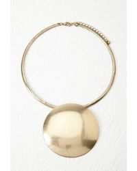 Forever 21 | Metallic Oversized Disc Pendant Necklace | Lyst