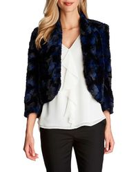 Cece by Cynthia Steffe - Black Cropped Faux-Fur Jacket - Lyst