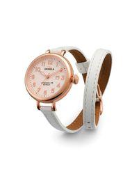 Shinola - White The Birdy Double Wrap Strap Watch, 34Mm - Lyst