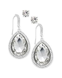 INC International Concepts - Metallic Silvertone Crystal Stone and Pave Edge Teardrop and Round Clear Crystal Stud Earring Set - Lyst