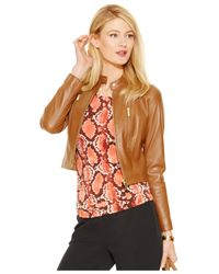 Michael Kors | Brown Michael Petite Zip-front Leather Jacket | Lyst