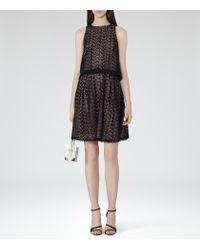 Reiss - Black Layered Lace Dress - Lyst