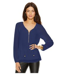 Michael Kors | Blue Michael Zip-front Peasant Blouse | Lyst