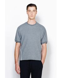 3.1 Phillip Lim - Gray Short Sleeve Pullover With Combo Panel for Men - Lyst