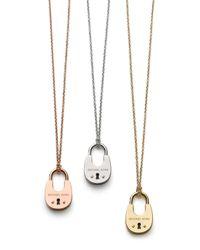 "Michael Kors | Pink Padlock Pendant Necklace, 16"" | Lyst"