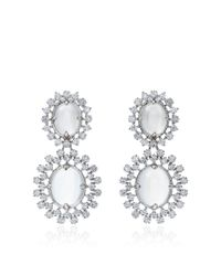 Paul Morelli | Metallic Oval Cabochon Mixed Diamond Cluster Double Dangle Earrings | Lyst