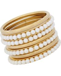 Fallon | Metallic Pearl Bead Bangle Set | Lyst