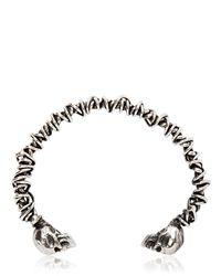 Emanuele Bicocchi - Metallic Woven Sterling Silver Skull Bracelet for Men - Lyst