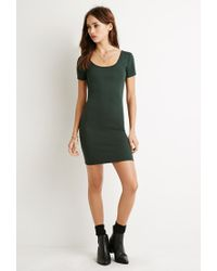 Forever 21 | Green Ribbed Shift Dress | Lyst