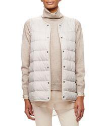Brunello Cucinelli - White Cashmere Fox-collar Coat W/quilted Vest - Lyst