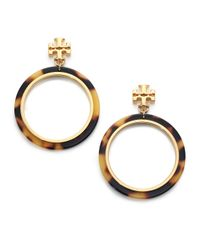 Tory Burch | Metallic Tortoise-Print Circular Drop Earrings | Lyst