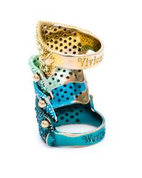 Vivienne Westwood - Blue Embellished 'Armour' Ring - Lyst