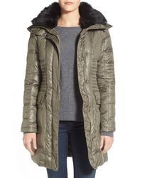 Vince Camuto | Green Belted Faux Fur-Trimmed Cargo Coat | Lyst