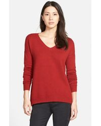 Hinge | Red Split Back Boyfriend Sweater | Lyst