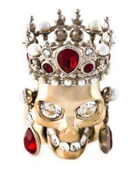 Alexander McQueen - Red Royal Skull Ring - Lyst