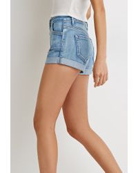 Forever 21 | Blue Button Cuffed Denim Shorts | Lyst