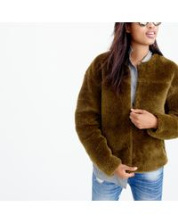 J.Crew | Green Plush Fleece Teddy Jacket | Lyst