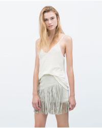 Zara | White Top With Straps | Lyst