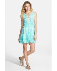 Rip Curl | Blue 'sand Dune' Beaded Sleeveless Dress | Lyst