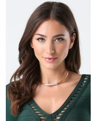 Bebe | Metallic Crystal Bar Necklace | Lyst