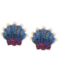Betsey Johnson | Multicolor Into The Blue Seashell Button Stud Earrings | Lyst