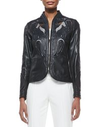 ESCADA | Black Laser-Cut Leather Jacket | Lyst