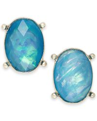 Style & Co. | Style&co. Gold-tone Blue Green Oval Foil Stud Earrings | Lyst